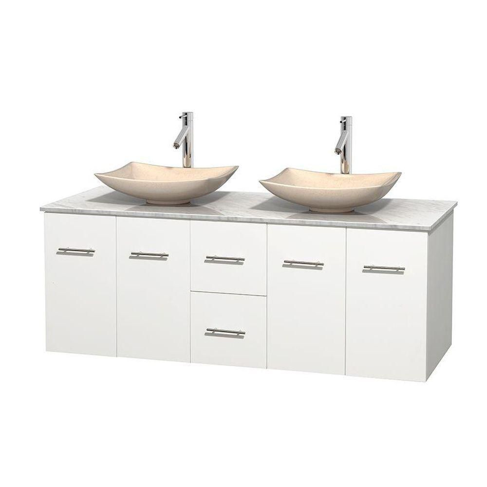 Centra 60-inch W Double Vanity in White with White Top with Ivory Basins